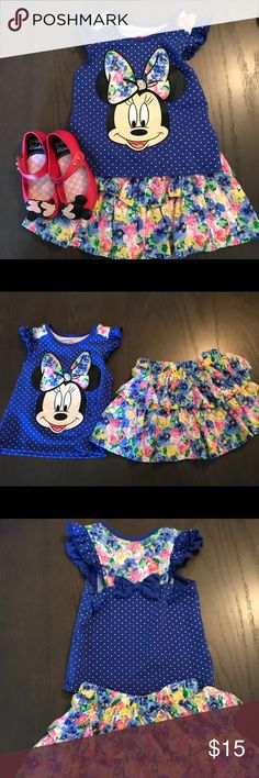 3T disney Minnie Mouse shirt and skort 3t Minnie Mouse shirt with cute bow details on back and skort (has shorts under skirt) excellent condition SHOES are a SEPARATE listing see my closet but it makes such a cute outfit wanted to include Disney Matching Sets