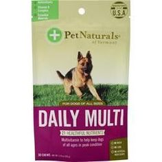 Daily Multi for Dogs of All Sizes Description from Pet Naturals Of Vermont Your dog can be his best self at any age. Keeping him in peak condition takes activity and love. And of course, you can alway