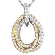 Triple Oval Ring Pave' Diamond Pendant/ Enhancer in Tri-Color 18K Gold | FJ LXX #Pendant