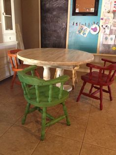 Different colored chairs for the dining kitchen table. I used Annie Sloan chalk paint with a dark wax. Aries, Emporer's Silk, Barcelona Orange, and Antiles Green. Used a different brand of white and lightly wiped the dark wax off the table top to give it that wood look.