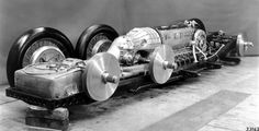The Mercedes-Benz T80 by Mercedes-Benz, and designed by Ferdinand Porsche. It was intended to break theworld land speed record, but never made the attempt, having been over-taken by the outbreak of World War II. Total weight: 2896 kg (6385 lb) Power: 3,000 PS (2,210 kW) @ 3200 rpm Engine: 44.5 liters Wheels: (6) 7 X 31 Length: 8.24 meters (27 ft 0 in) Width: 3.20 meters (10 ft 6 in) Height: 1.74 meters (5 ft 9 in) Drag Coefficient: 0.18 Speed: estimated at between 550-750 km/h (340–465 mph)