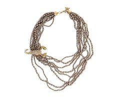 Collar de perlas y bolitas de cristal Scorpion - cobre
