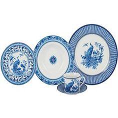 Jogo De Jantar redondo Bololô porcelana Azul e Branco 30 peças -  R$ 799,90 ou até 10x de R$ 79,99