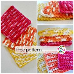 """This week's scrubbie is made from a stitch I first used on the wings of my """"hoot and waddle"""" pattern. The """"feather"""" side is puffy and the back is perfect for scrubbing."""