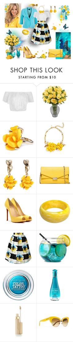 """colors"" by lumi-21 ❤ liked on Polyvore featuring Oscar de la Renta, Tory Burch, Christian Louboutin, Maybelline, Davidoff, Elizabeth Arden and Dolce&Gabbana"