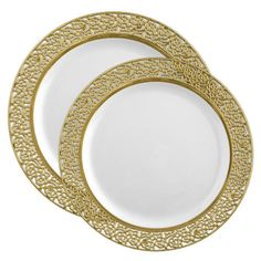 Inspiration White \u0026 Gold Plates Combo - Wedding Plates Combo - Posh Party Supplies  sc 1 st  Pinterest & 1369 7.5\