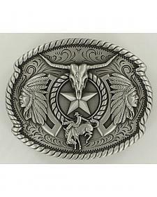 fabriqu/é aux /États-Unis style western//cowboy motif /« God Bless America /» Boucle de ceinture ovale Nocona