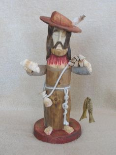 Hand carved San Pasqual bultos by famous santero, Pete Ortega. Made out of cottonwood and other native New Mexican wood. San Pasqual is the patron saint of cooks and kitchens and is typically represented in New Mexican kitchens. The pictures are there to serve as somewhat of a guide but each carving has it's own beauty.