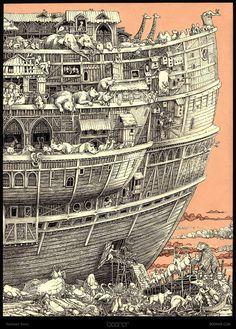 Tomislav Tomic - Noah's ark. Looks like an engraving.