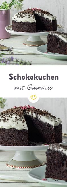 Guinness Schokoladenkuchen The dark Guinness makes for a slightly malty taste and makes the cake incredibly juicy. Guinness Chocolate, Chocolate Heaven, Chocolate Cake, Chocolate Desserts, Sweet Recipes, Cake Recipes, Dessert Recipes, Ice Cream Desserts, No Bake Desserts