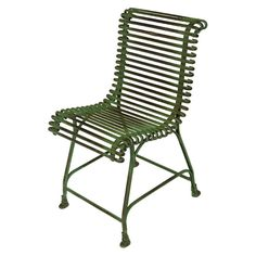 French Green Iron Garden Side Chair originally designed for the Luxemborg Gardens; 20th Century.
