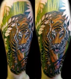 Great tiger tattoo - I would prefer a jaguar and it would be perfect.