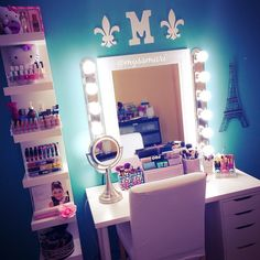 I apologize for the bad lighting. It sucks in my room. My current vanity set up. Details: ✨Table top and drawers are Linnmon Alex drawer set. I paid around $120 for mine from Ikea. ✨Shelving is also from Ikea called Lack shelving wall unit for $50. ✨Mirror I found at @homegoods for around $30. ✨Lights are a DIY from homedepot. Light strips are called Hampton Bay 6-Light Chrome Flush Mount for $22.98 each. ✨Light bulbs are also from Home Depot. They're daylight fluorescent bulbs. ✨ table top…
