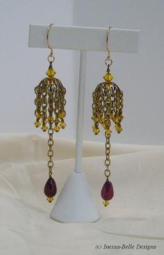 Purple Dangle Earrings - Gold Chandelier Earrings - Large Earrings ...