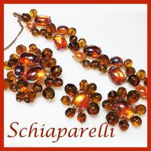 Vintage SCHIAPARELLI Bold & Beautiful Iridescent Topaz Set of Brooch, Bracelet & Earrings Austrian Crystals