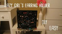 I've always been too lazy to always organize my earrings in one of those metal earring thingies because i would always end up loosing the back thing while pu. Stud Earring Organizer, Diy Earring Holder, Diy Earrings Studs, Girls Earrings, Mirror Jewelry Storage, Jewellery Storage, Vintage Jewelry Crafts, Foam Crafts, Diy Jewelry Making