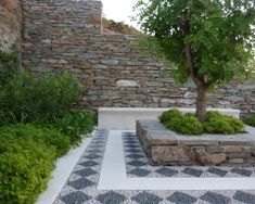 A mediterranean garden setting - love this idea for an sitting space around a tree and ground tile