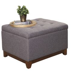 HomePop Upholstered Storage Cocktail Ottoman  This one isn't too wide - might want to do two.  I like the idea of a storage ottoman and getting a tray for the top as opposed to the ones that flip over.