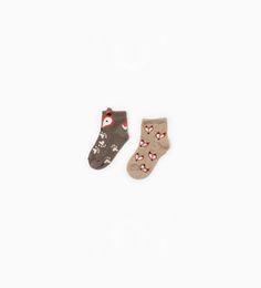 Image 1 de Lot de deux paires de chaussettes ornées de renards de Zara