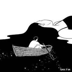 Surreal and Minimalistic Illustrations from Henn Kim Henn Kim is an illustrator from South Korea. Her drawings, always in black and white, evoke themes. Art And Illustration, Landscape Illustration, Art Pop, Angst Im Dunkeln, Henn Kim, Ouvrages D'art, Art Design, Dark Art, Art Inspo