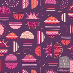 A sunset color and scenery inspired pattern by Pattern Camper and Surface Pattern Designer Alison Brookes.