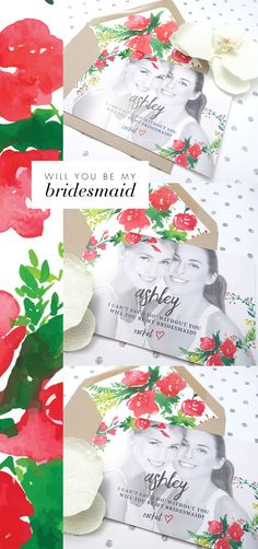 Surprise your bridesmaid with this pretty bridesmaid invitation. Such a special way to ask her to stand by your side on a big day!