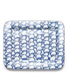 Tory Burch. Spongeware rectangular platter. blue and white
