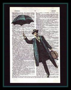 Whimsical Flying Gentleman on Antique Dictionary Page - Shabby Chic - Umbrella - Vintage Man - Vintage Decor - Whimsical., via Etsy.