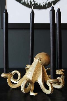 Gold Octopus Candlestick Holder from Rockett St George