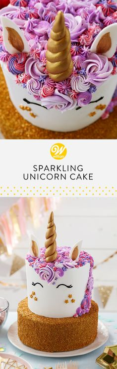 No unicorn party is complete without a unicorn cake! Decorated with a mane of stars and rosettes, this magical cake is perfect for birthday parties! This unicorn cake is literally is a sparkling centerpiece for your sweet table! #wiltoncakes #cakedecorating #cakes #cakeideas #gold #unicorn #unicorntheme #unicornparty #unicornideas #unicorntreats #unicorncake #birthday #birthday #birthdayparty #birthdayideas #kidsparty