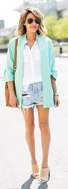 Mint Blazer Outfit Idea by Hello Fashion