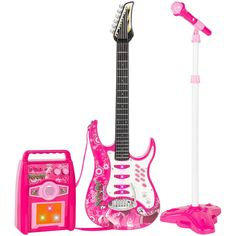 Best Choice Products Kids Electric Musical Guitar Toy Play Set w/ 6 Demo Songs, Whammy Bar, Microphone, Amp, AUX - Pink Baby Toys, Kids Toys, Toddler Toys, Children Play, Kids Electric Guitar, Electric Guitars, Little Girl Toys, Cool Toys For Girls, Princess Toys
