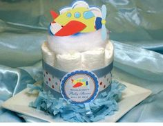 You'll be flying high with LMK Gifts exclusively designed Airplane Baby Shower Diaper Cake Centerpiece! Airplane Baby Shower, Baby Shower Fun, Baby Shower Balloons, Baby Shower Favors, Baby Shower Cakes, Baby Shower Themes, Baby Showers, Shower Ideas, Airplane Party