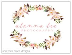 Premade Photography Logo  Watercolor Flower by MySouthernCulture