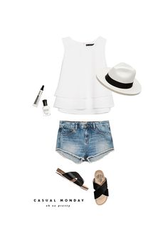 casual monday / white top + denim shorts