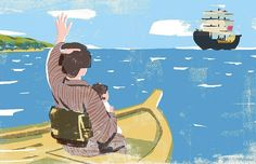 #japan #ship #boat #woman #baby #sea #farewell #edo #illustration #illustrator #tatsurokiuchi