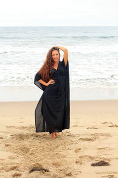 Caftan Maxi Dress Beach Cover Up Kaftan Muumuu Black image 1 Beach Dresses, Dress Beach, Muumuu, Black Image, Looks Chic, Packing Light, Beach Covers, Color Swatches, Sheer Fabrics