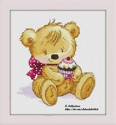 Natalia Saldusheva - Teddy Bear and Cake Cross Stitch Boards, Cross Stitch For Kids, Cross Stitch Designs, Cross Stitch Patterns, Halloween Party Appetizers, Animal Crackers, Panda Bear, Baby Pictures, Cross Stitching