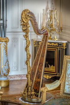 Versailles | France - Harp in Grand Cabinet of Madame Adelaide