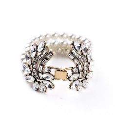 Simulated Pearls & Crystal Studded Cuff Bracelet