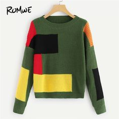 Color Block Jumper Sweaters Women Sweater Tops Casual Autumn Winter Long Sleeve Clothing Pullovers Multi S - Autumn Sweater Sweater Fashion, Sweater Outfits, Color Block Sweater, Romwe, Pulls, Casual Tops, Long Sleeve Sweater, Knitwear, Sweaters For Women