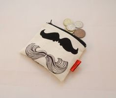 Moustaches Fabric Coin Purse - Free P £5.00