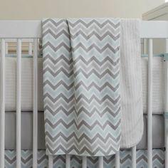 Mist and Gray Chevron Crib Blanket | Carousel Designs