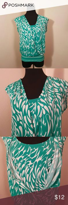 Bcbg Casual Career Shirt Blouse Stretchy Green/turquoise shirt, with very stylish design.  No rips,tears, stains. BCBGMaxAzria Tops