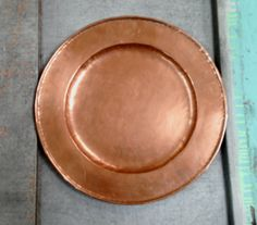 Vintage Hammered Copper Round Tray/Plate  G4675 by 4Good4Good, $24.00