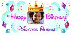 Cute Princess Birthday Photo Banner.