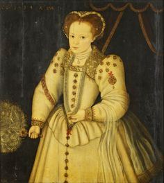 'Girl with a Fan   Royal Collection Trust 1594'. This girl's jewellery is so rich that she must have been of the highest status. Her cuffs are embroidered with oak leaves (symbol of patience/strength of faith) and the border across her breast features a bunch of grapes (the 'True Vine' an attribute of Christ).