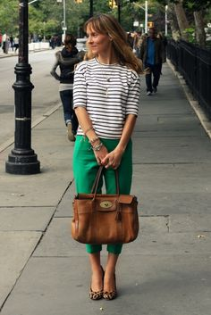 Stripes + green pants + leopard shoes