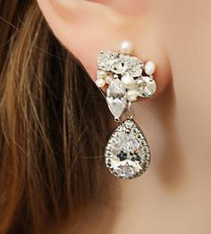 Rhinestone Freshwater Pearl and Swarovski Crystal Drop Bridal