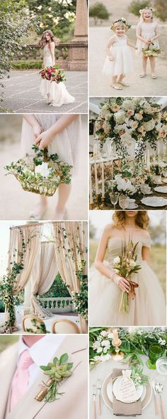 gorgeous and elegant beige and greenery wedding color ideas for summer